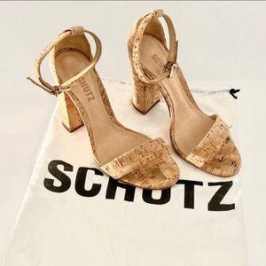 Schultz Cork Enida Tan Open Toes Heels